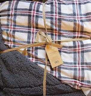 Montauk Luxury Velvet Reversible Queen/Full Blanket-Charcoal, White & Burgundy Plaid