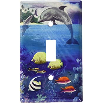 Sunlit Dolphins Double Gang Toggle OVERSIZE Switch Plate//OVER SIZE Wall Plate Art Plates