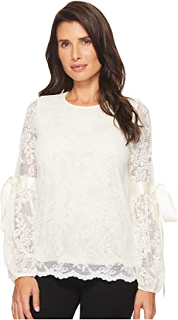 Vince Camuto - Tie Cuff Bubble Sleeve Floral Lace Top