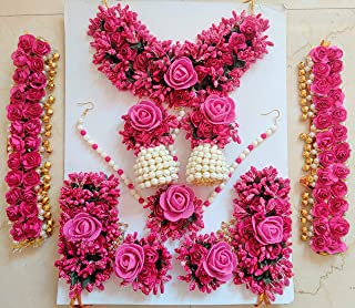 Shivam Handicraft Soft Fabric Pink Flower Jewellery Set for Haldi Baby Shower Mehendi Godbharai for Women's