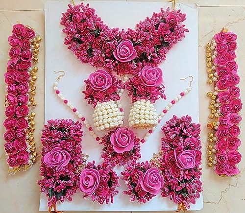 Flower Jewellery Set for Haldi Baby Shower Mehendi Godbharai Full Set for Women and Girls Pink Set