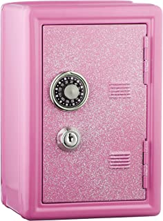 Kids Safe Bank, Made of Metal, with Key and Combination Lock, Pink,