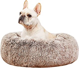 SAVFOX Original Calming Dog and Cat Bed, Orthopedic Anti Anxiety Round Comfy Donut Cuddler Cozy Soft Fluffy Faux Fur Long ...