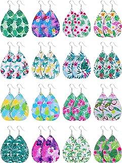 16 Pairs Hawaii Faux Leather Teardrop Earrings Summer Tropical Dangle Earrings Boho Lightweight Drop Earrings