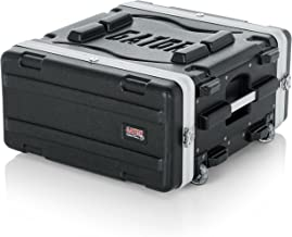 Gator Cases Lightweight Rolling 4U Rack Case with Heavy Duty Latches, Retractable Tow Handle, and Recessed Wheels; Standard 19.25