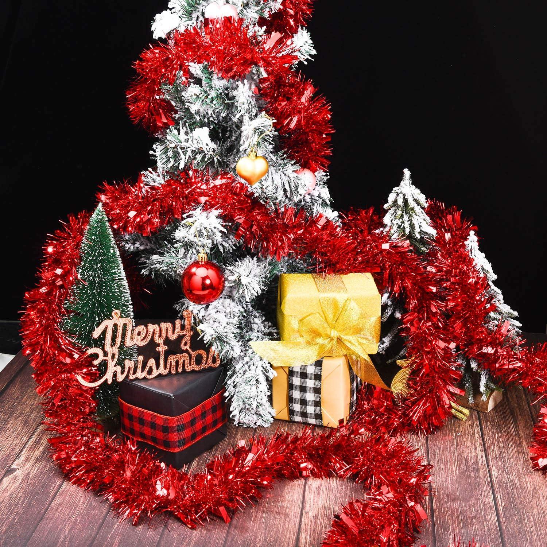 Guirnaldas de Navidad Met/álicas Adornos de /Árbol de Navidad Brillante para Decoraciones de Fiesta de Cumplea/ños de Bodas de Navidad Plata
