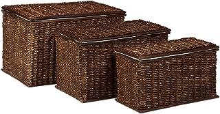 Relaxdays Malle lot de 3 en palmier tressé HlP: 39 x 60 x 375 cm capacité 71 L coffre de rangement empilable panier à ling...