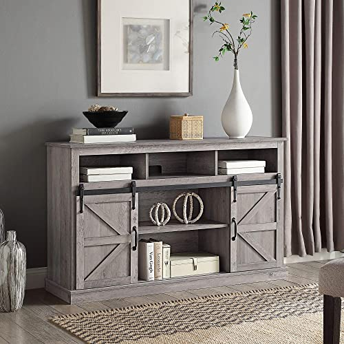 discount BELLEZE Modern Farmhouse Highboy TV lowest Stand & Media Entertainment Center Console Table for TVs up to 60 2021 Inch with Sliding Barn Door and Storage Cabinets - Parker (Gray Wash) online sale