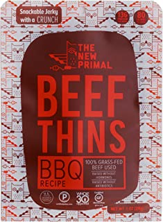 The New Primal BBQ Beef Thins - Whole30 Approved, Paleo, Gluten & Soy Free, 100% Grass-Fed, AIP, No Added Sugar, 1oz., Pack of 8