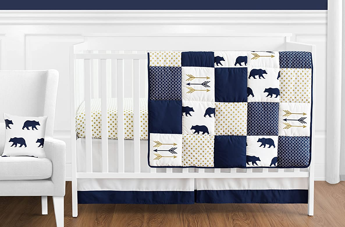 Sweet Jojo Designs 11-Piece Navy Blue, Gold, and White Patchwork Big Bear Boy Baby Crib Bedding Set Without Bumper