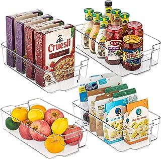 Refrigerator Organizer Bins, Vtopmart 4 Pack Large Clear Plastic Food Storage Bin with Handle for Freezer, Cabinet, Fridg...