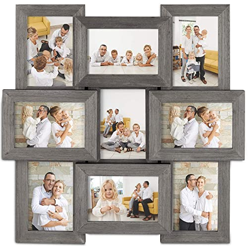 "ecdaf427442d VonHaus 9 Aperture Hanging Wooden Photo Frame for 6 x 4"" Photographs"