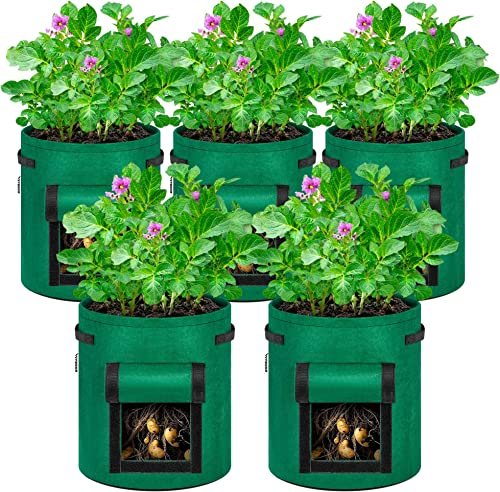 discount VIVOSUN 5-Pack wholesale outlet sale 7 Gallon Potato Grow Bags, Fabric Pots with Handle and Roll-up Window online