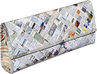 Clutch purse using upcycled newspaper - Free shipping - upcycled eco friendly art design vegan style recycled reclaimed salvaged handmade organic gift gifts bag upcycle handbag recycle woven vogue