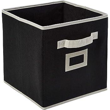 Amazon Brand - Solimo Fabric Foldable Storage Organiser, Black