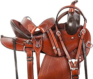 Acerugs Western Horse Saddle Pleasure Trail Riding Leather Premium TACK Set Bridle REINS Breastplate Full Quarter Bars