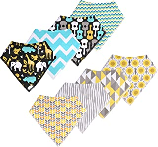 Baby Bandana Drool Bibs for Boy and Girl- 100% Organic Cotton - Soft and Super Absorbent for Drooling and Teething - Set o...