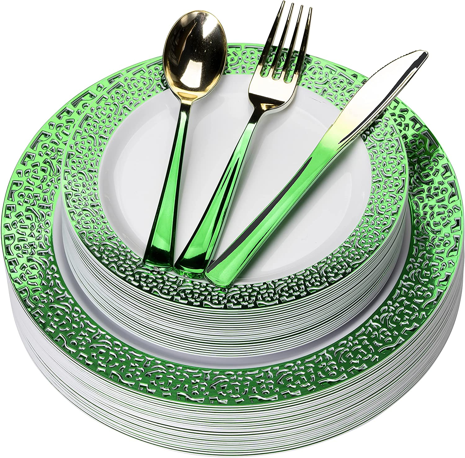 FOMOICA Green Plastic Plates and PCS Cheap Popular product bargain 125 Silverware - Gold