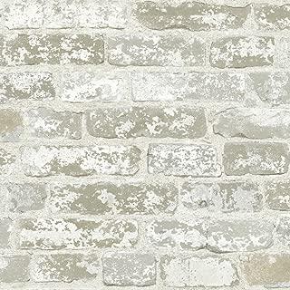 York Wallcoverings White Brick Prepasted Removable Wallpaper