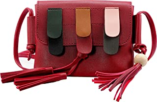 Elios Red Trendy Stylish Casual College Wear Crossbody Sling Bag With Tassels For Women And Girls