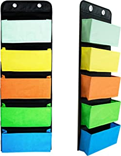 Youngever Wall Organizer Wall Hanging Organizer, 5 Assorted Color Pockets