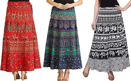 MIRAV FASHION Women's Cotton Printed Wrap Around Long Skirts (MIRAVWRAP1, Multicolour, Free Size)- Combo of 3