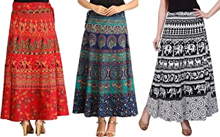 MIRAV FASHION Women's Cotton Printed Wrap Around Long Skirts (MIRAVWRAP1, Multicolour, Free Size)- Combo of 3