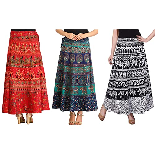 6b4231adf2 MRV MACY FASHION Women's Cotton Pack Of 3 Long Skirts (MRV MACY _Blue-White