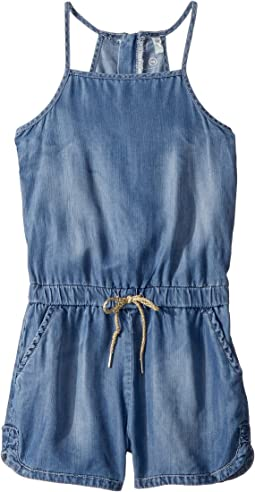Chambray Zipper Romper (Big Kids)
