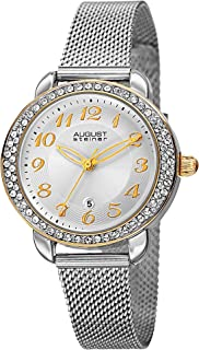 August Steiner Women's Crystal Bezel Dress Watch - Textured White Dial with Big Number Yellow Gold Tone Hour Markers on Si...
