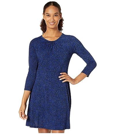 MICHAEL Michael Kors Baby Cat 3/4 Sleeve Dress (Black/Twilight Blue) Women