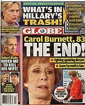 Globe Magazine October 31, 2016   Carol Burnett, Hillary's Trash