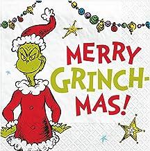 """Merry Grinchmas"" Beverage Napkins, 5"" x 5"" - 16 Pcs."