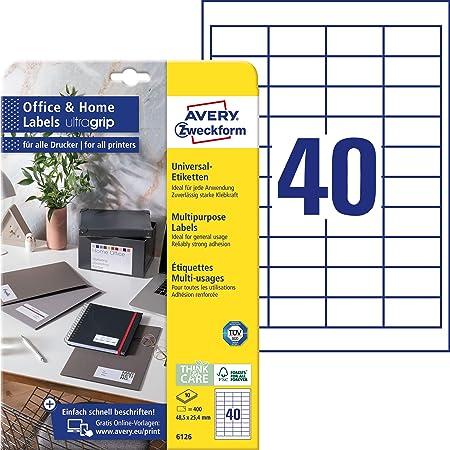 AVERY Zweckform 6126 Adressaufkleber (400 Klebeetiketten, 48,5x25,4 mm auf A4, bedruckbare Universaletiketten, selbstklebende Adressetiketten mit ultragrip, ideal fürs HomeOffice) 10 Blatt, weiß