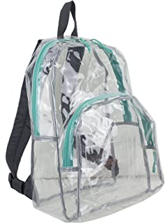 Eastsport Clear Backpack, Fully Transparent with Adjustable Colorful Padded Straps (Clear/Graphite/Pool Green Trim)