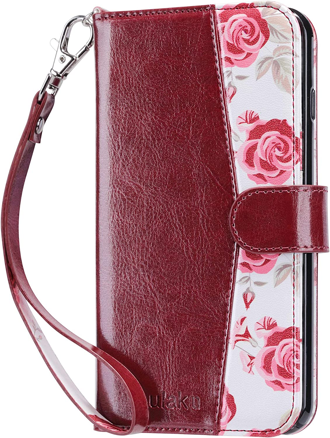 ULAK iPhone 8 Plus Case, iPhone 7 Plus Flip Wallet Case, PU Leather Wallet Case with Card Holder Kickstand Hand Strap Shockproof Protective Cover for Apple iPhone 7 Plus/8 Plus 5.5 Inch, Burgundy