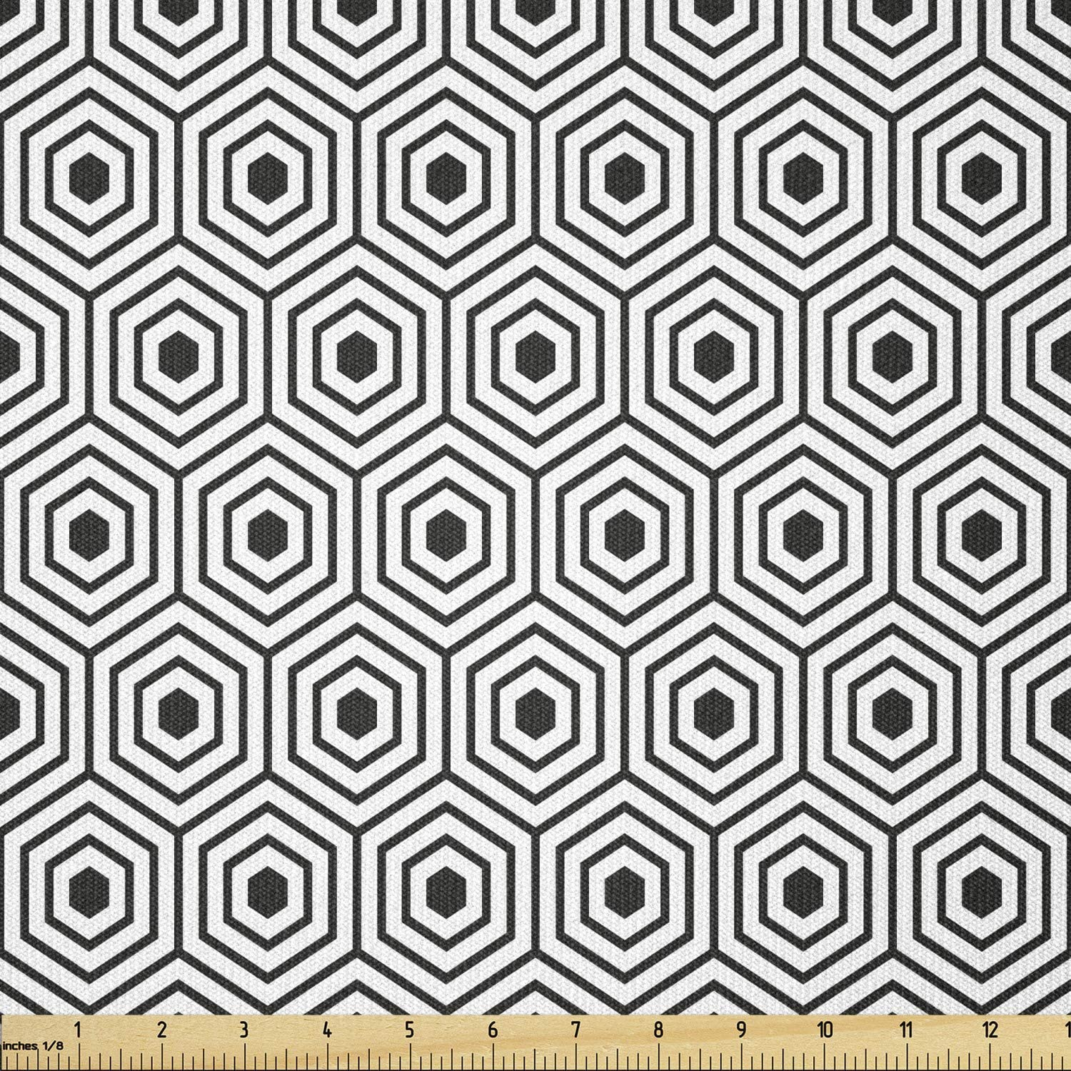 Ambesonne Minimalism Free shipping New Our shop OFFers the best service Fabric by The Geometric Hexagonal Sha Yard