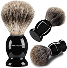 Perfecto 100% Pure Badger Shaving Brush-Black Handle- Engineered for The Best Shave of Your Life. for, Safety Razor, Doubl...