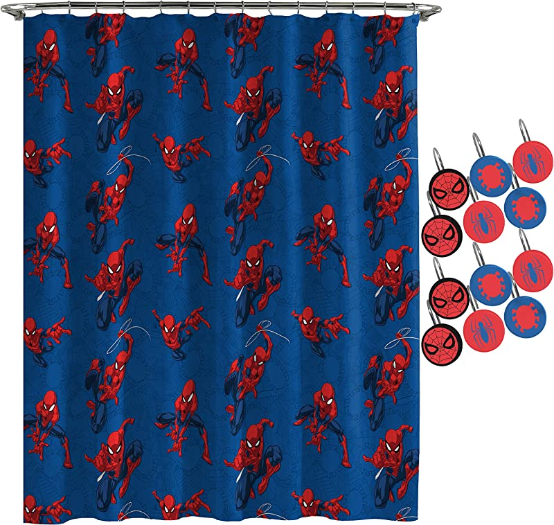 Jay Franco Marvel Spiderman Spidey Crawl Shower Curtain 12 Piece Hook Set Easy Use Kids Bath Features Spiderman Official Marvel Product