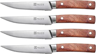 4.5 Inch Steak knives, PAUDIN 4-Piece Steak knife set, German High Carbon Stainless Steel Dinner Knives Serrated, Rosewood Handle Rust Resistant and Durable