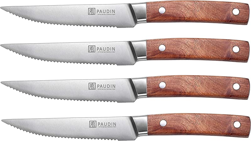 4 5 Inch Steak Knives PAUDIN 4 Piece Steak Knife Set German High Carbon Stainless Steel Dinner Knives Serrated Rosewood Handle Rust Resistant And Durable