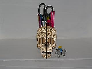 Soporte de lápiz de madera del organizador de escritorio del sostenedor del lápiz del patrón del cráneo