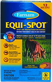 Farnam Equi-Spot Spot On Protection for Horses, 12-Week Supply with 6 Applications