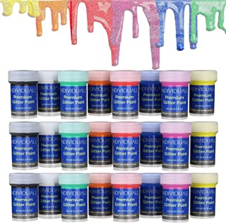 individuall 24 Cans of Premium Glitter Paints Professional Grade Acrylic Glitter Paint Set – Hobby Paints Made in Germany – Craft Paint Set, 8 Vivid Colors – for Beginners, Students, Artists