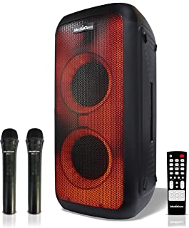 MediaCom MCI 727 Bluetooth Party Speaker with 2 Wireless Mics, Flaiming LED Light Design and Rechargeable Battery