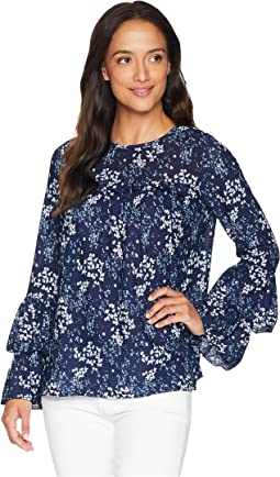 Scatter Blooms Tier Sleeve Top