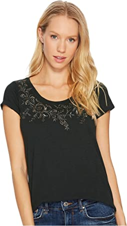 Lucky Brand Embroidered Flower Tee