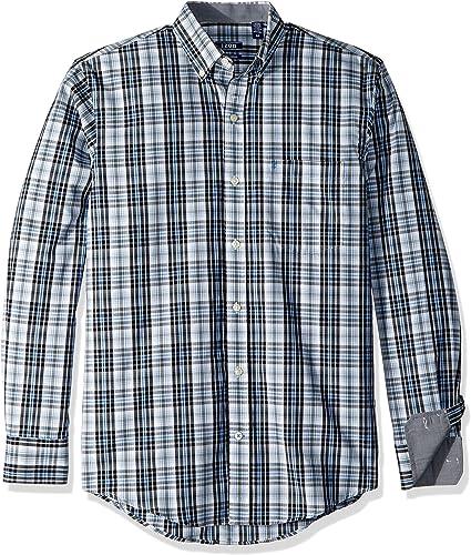 IZOD Hommes's Premium Essential Plaid manche longue Shirt (Regular and Slim Fit), noir, petit