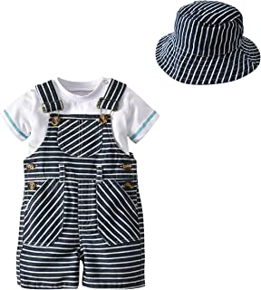 NOMSOCR Infant Baby Boys Short Sleeve Crew Neck T-Shirt Tops Stripe Suspender Pants Hats Gentleman Clothes Set