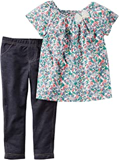 06c4ccacc carter's Girls Cotton 2-Piece Top & Jegging Set - Multi in Multi Color